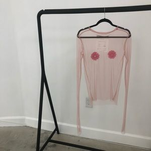 Brand New Herida De Gato Pink Sheer Floral Nip Top